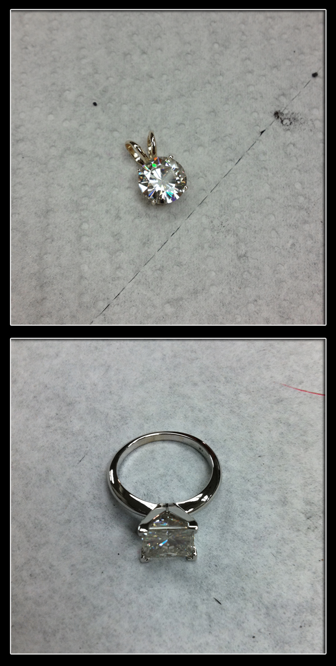 moissanite pictures from jewelers bench