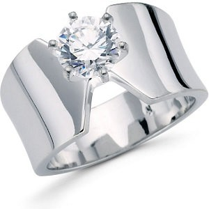 MOISSANITE SOLITAIRE 11 MM WIDE BAND DESIGN RING 1.00 to 5.00 Carat Total Weight 14K WHITE GOLD