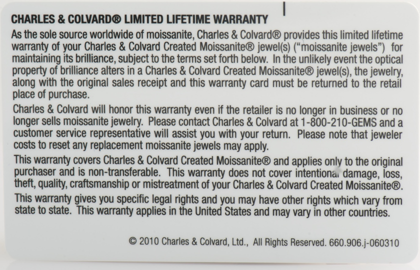 charles and colvard moissanite guarantee