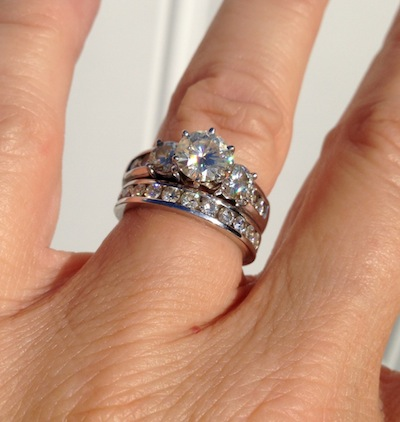 Moissanite anniversary band