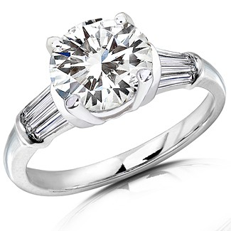 Moissanite & Tapered Baguette Diamond Engagement Ring 2.50 cttw 14K White Gold