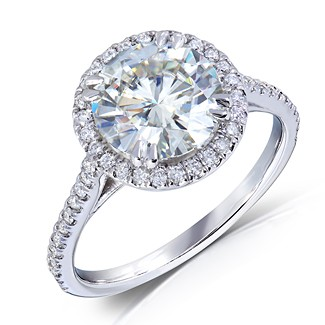 Vintage Halo Round Cut Moissanite & Diamond Engagement Ring 2.25 Carat T.W. Handcrafted in 14K White Gold
