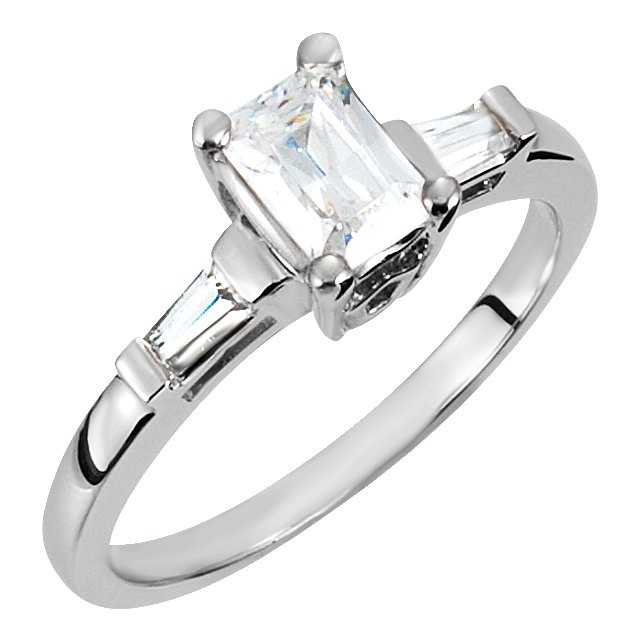 FOREVER ONE RADIANT MOISSANITE AND DIAMOND BAGUETTE THREE STONE RING 2.00 CTTW 14K White Gold