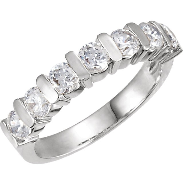 FOREVER ONE GHI MOISSANITE ANNIVERSARY BAND 03.50 MM=1 1/8 CTTW 14K White Gold