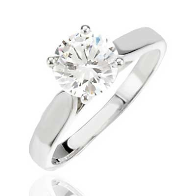 Forever One GHI Cathedral Engagement Ring Mounting 14k White Gold