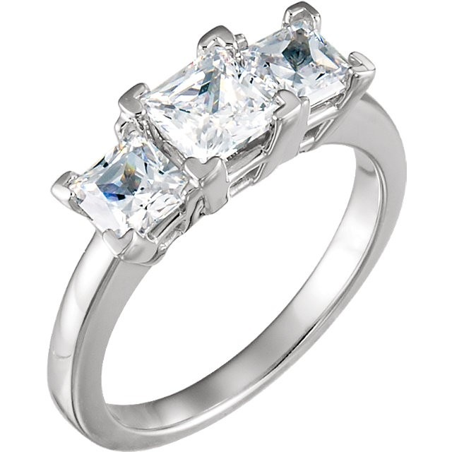 FOREVER ONE MOISSANITE THREE STONE PRINCESS CUT 2 CT TW ANNIVERSARY BAND 05.00 MM  14K White Gold