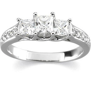 FOREVER ONE MOISSANITE & DIAMOND 3 STONE ANNIVERSARY BAND 1.15 CTTW 14K White Gold