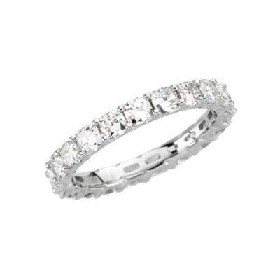 Antique Cushion 3mm Designer Moissanite Anniversary Eternity Engagement Band 2.50 Carat T.W. 14K WG