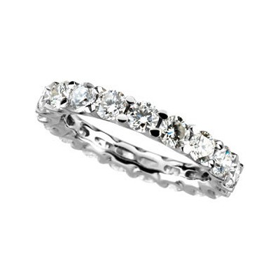 Forever One DEF Antique Round Designer Moissanite Anniversary Eternity Engagement Band 2.75-3.00 Carat T.W. 14K WG