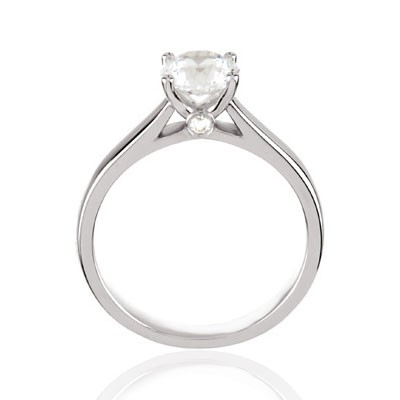 Cathedral Style Solitaire Engagement Ring Mounting with Diamond Accent .04tw 14K White Gold