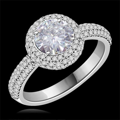Forever One GHI Riviera Vintage Round Cut Moissanite & Diamond Engagement Ring 1.75 Carat T.W. Handcrafted in 14K White Gold