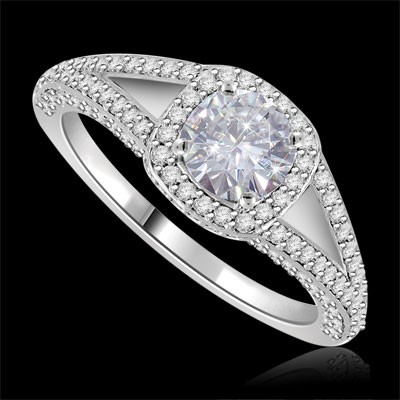 Riviera Vintage Round Cut Moissanite & Diamond Engagement Ring 1.90 Carat T.W. Handcrafted in 14K White Gold