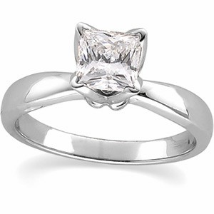Forever One Princess Tulipset Solitaire Engagement Ring Mounting 14K White Gold