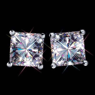 1 2 Carat T W 5 Mm Certified Princess Cut Forever One Ghi Moissanite Stud Earrings