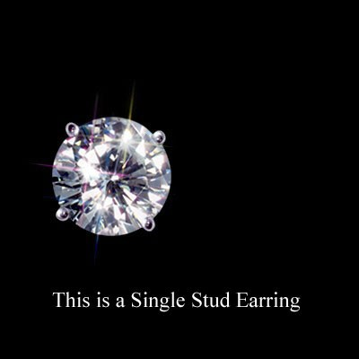 1/2 Carat t.w. 5 mm Certified Round Moissanite Single Stud Earring Luxuriously set in Classic 4 Prong stud in 14K WG Mounting