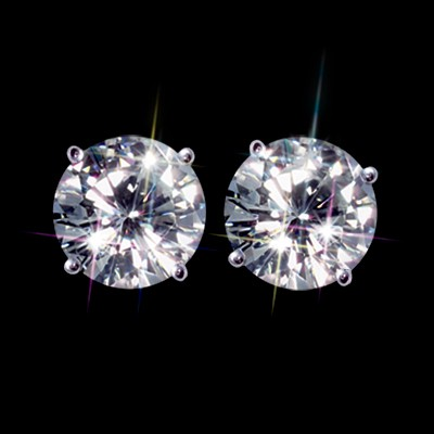 Forever Brilliant 1.00 Carat t.w. 5.00 mm Certified Round  Moissanite Stud Earrings Luxuriously set in Classic 4 Prong studs in 14K WG Mountings