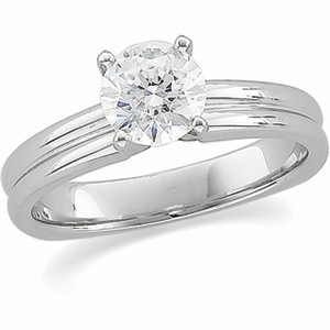 Ribbed Design 1/2 Carat Round Solitaire Engagement Moissanite Ring Mounting 14K White Gold