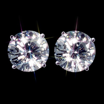 Forever Brilliant 2.00 Carat t.w. Certified Round Moissanite Stud Earrings Luxuriously set in Classic 4 Prong studs in 14K WG Mountings