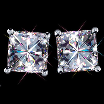5.00 Carat t.w. 7.50 mm Certified Princess Cut Forever One GHI Moissanite Stud Earrings Luxuriously set in Classic 4 Prong studs in 14K WG Mountings