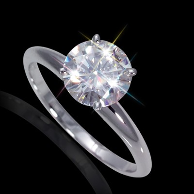 5.00 mm (1/2 carat) Certified Round Cut Forever One DEF Moissanite Engagement Solitaire Ring in 14K White Gold