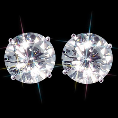 Forever One DEF 7.00 Carat t.w. 10.00 mm Certified Round Moissanite Stud Earrings Luxuriously set in Classic 4 Prong studs in 14K WG Mountings