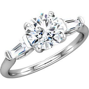 MOISSANITE AND TAPERED BAGUETTE DIAMOND ENGAGEMENT RING  1.83 CTTW 14K White Gold