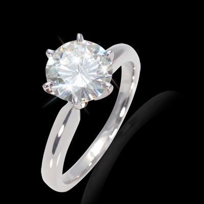 12.00 mm (6.13 carat) Forever One GHI Certified Round Cut Moissanite Engagement Solitaire Ring in 14K White Gold Six Prong Mounting