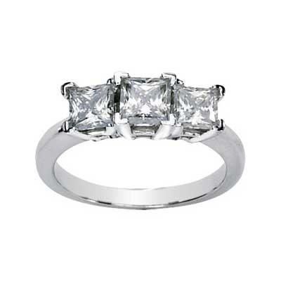 MOISSANITE THREE STONE PRINCESS CUT ANNIVERSARY BAND 06.00 MM=3 CT TW 14K White Gold
