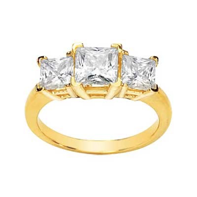MOISSANITE THREE STONE PRINCESS CUT ANNIVERSARY BAND 06.00 MM=3 CT TW 14K Yellow Gold