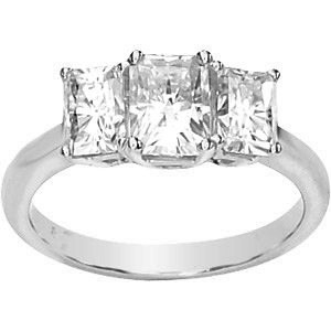 MOISSANITE THREE STONE ANNIVERSARY BAND 07.00 X 05.00 MM=2 1/2 CT TW 14K White Gold