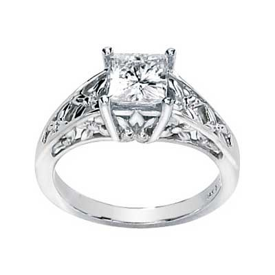 FOREVER ONE MOISSANITE ENGAGEMENT RING PRINCESS CUT 06.00 MM = 1 1/4 CT 14K White Gold