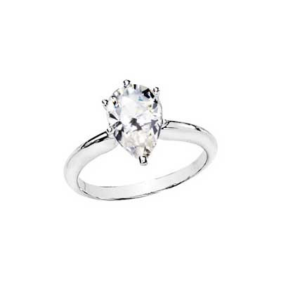 MOISSANITE PEAR SOLITAIRE ENGAGEMENT RING 08.00X05.00 MM= 1 CT 14K White Gold