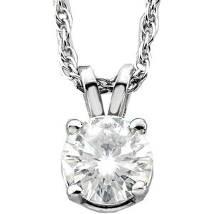 Forever One GHI Moissanite Solitaire Round Cut Pendant 6.5 mm 1.00 Carat with 14k white gold chain