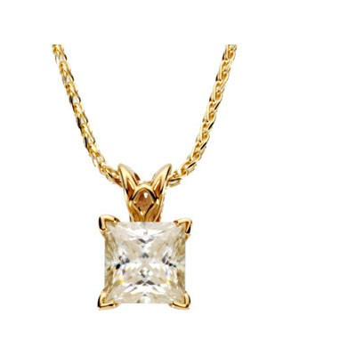 MOISSANITE SCROLL NECKLACE 06.50 MM = 1 1/2 CT 14K Yellow Gold
