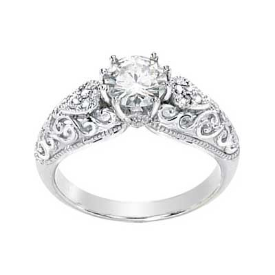 FOREVER BRILLIANT MOISSANITE AND DIAMOND ENGAGEMENT RING 6.50MM=1CT Moissanite, &. 05CTTW Diamonds in 14K White Gold