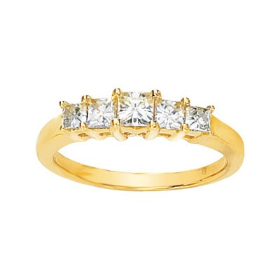 MOISSANITE ANNIVERSARY BAND 9/10CTTW 14K Yellow Gold