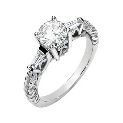 MOISSANITE AND DIAMOND ENGAGEMENT RING 06.50MM=1CT&1/2CTTW 14K White Gold