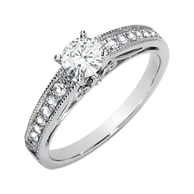 MOISSANITE AND DIAMOND ENGAGEMENT RING WEDDING SET 05.00MM=3/4 CTTW 14K White Gold
