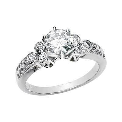 MOISSANITE AND DIAMOND ENGAGEMENT RING 06.50MM 1.20 CT TW 14K White Gold