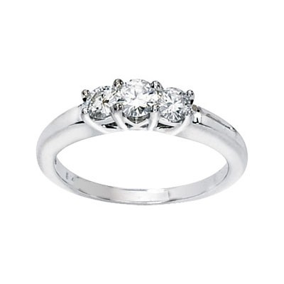 MOISSANITE 3 STONE ANNIVERSARY BAND 1/2 CTTW 14K White Gold
