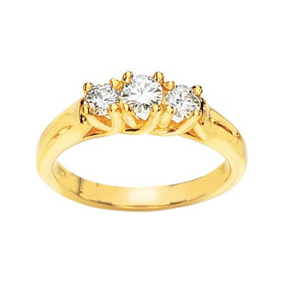 MOISSANITE 3 STONE ANNIVERSARY BAND 1CTTW 14K Yellow Gold