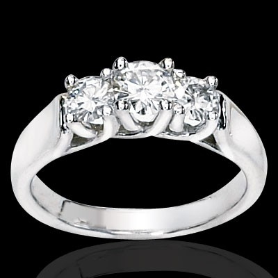 Three Stone Round Moissanite Ring 2.00 Carat T.W. 14K WG
