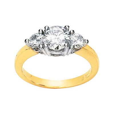 FOREVER ONE MOISSANITE TWO TONE 3 STONE ENGAGEMENT RING 1 1/2CTTW 14K Yellow/White Gold