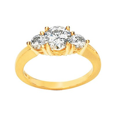 MOISSANITE 3 STONE ENGAGEMENT RING 3 CT TW 14K Yellow Gold