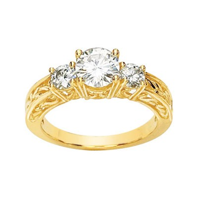 MOISSANITE 3 STONE ANNIVERSARY BAND 1 1/2CTTW 14K Yellow Gold