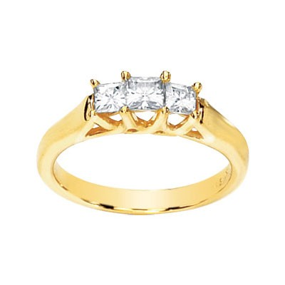 MOISSANITE 3 STONE ANNIVERSARY BAND 5/8CTTW 14K Yellow Gold