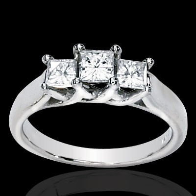 Forever OneThree Stone Princess Moissanite Ring 1.00 Carat T.W. 14K WG