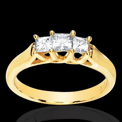 Forever One Three Stone Princess Moissanite Ring 5/8 Carat T.W. 14K YG