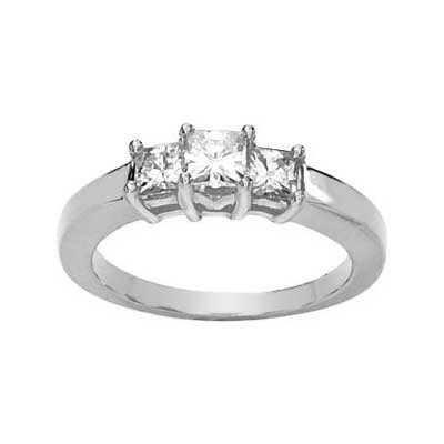 MOISSANITE 3 STONE ANNIVERSARY BAND 5/8 CTTW 14K White Gold