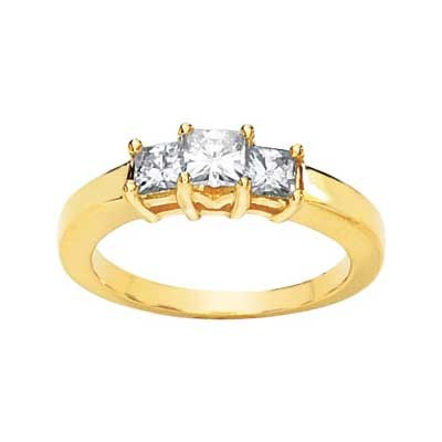 MOISSANITE 3 STONE ANNIVERSARY BAND 5/8 CTTW 14K Yellow Gold